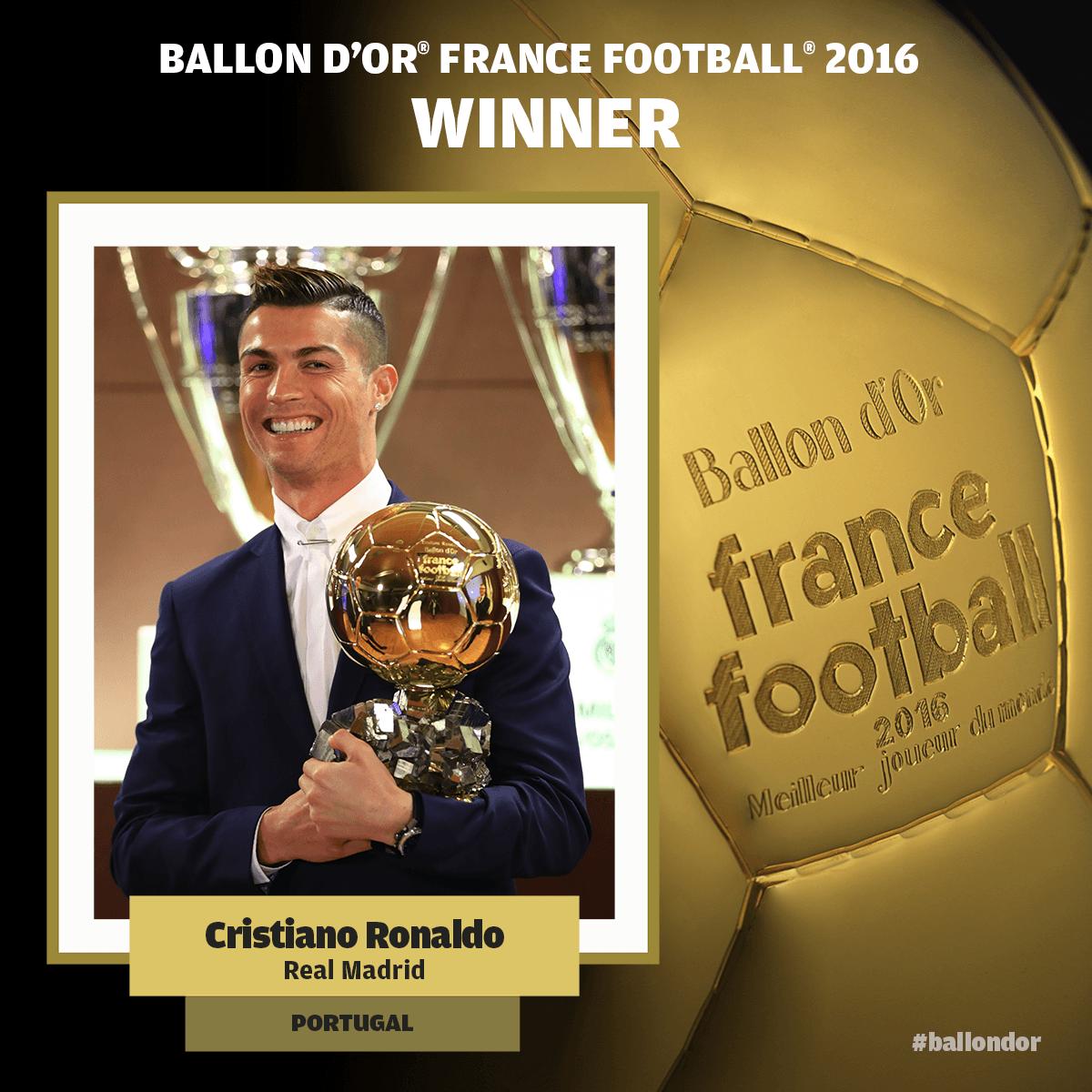 7620a747f9722 Cristiano Ronaldo vence a quarta Bola de Ouro