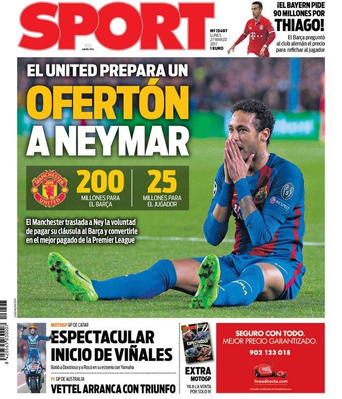 Manchester United poderia oferecer 200 milhões de euros por Neymar